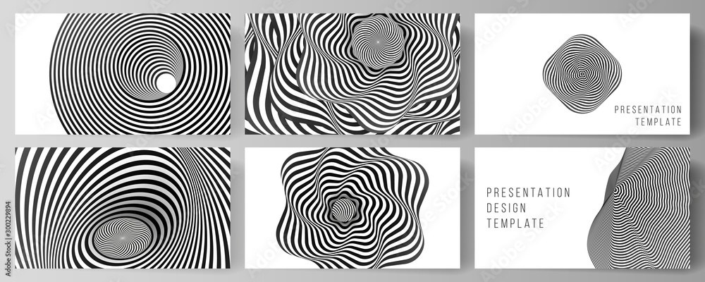 Fototapeta The minimalistic abstract vector layout of the presentation slides design business templates. Abstract 3D geometrical background with optical illusion black and white design pattern.