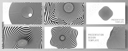 Fototapeta premium Minimalistyczny, abstrakcyjny układ wektorowy prezentacji slajdów projektuje szablony biznesowe. Streszczenie tło geometryczne z złudzenie optyczne czarno-biały wzór.