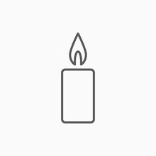 Candle Icon, Light Vector
