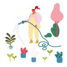 Young Woman Watering Potted Domestic Plants From Hose Outdoors In House Yard. Girl Bring Flowers In Pots On Open Air For Caring Or Replanting. Gardening Hobby Concept. Cartoon Flat Vector Illustration