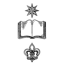 Heraldic Symbols - Book, Flower, Star. Knowledge And Family History In Gerb Motive. Vector Illustration