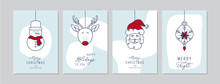 Merry Christmas Cards Set With Hand Drawn Santa Claus And Friends. Doodles And Sketches Vector Christmas Illustrations, DIN A6.