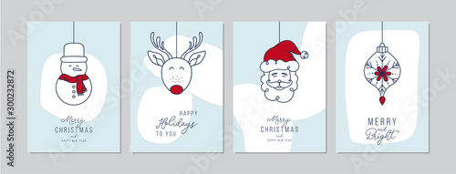 Fotografie, Obraz Merry Christmas cards set with hand drawn Santa Claus and friends