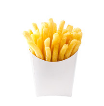 French Fries In A White Carton Box Isolated On White Background