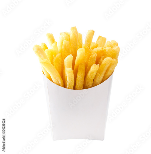 French fries in a white carton box isolated on white background Canvas Print