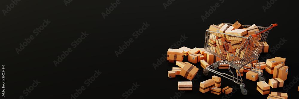Fototapeta Trolley full of carton boxes, original 3d rendering