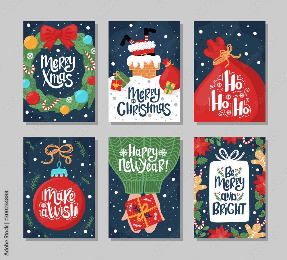 Fototapeta Set of Christmas and New Year greeting card with lettering hand drawn decorative elements on dark blue background.