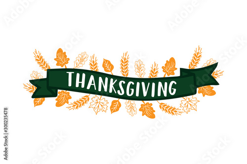 Vászonkép  Hand sketched Thanksgiving lettering typography