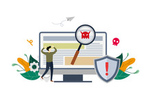 Virus Malware Detected On PC Concept, Viruses Attack Warning Signs, Hacking Alert Messages With Small People Vector Flat Illustration, Suitable For Background, Advertising Illustration