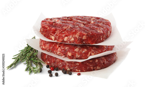 Raw meat cutlets for burger isolated on white - 300240023