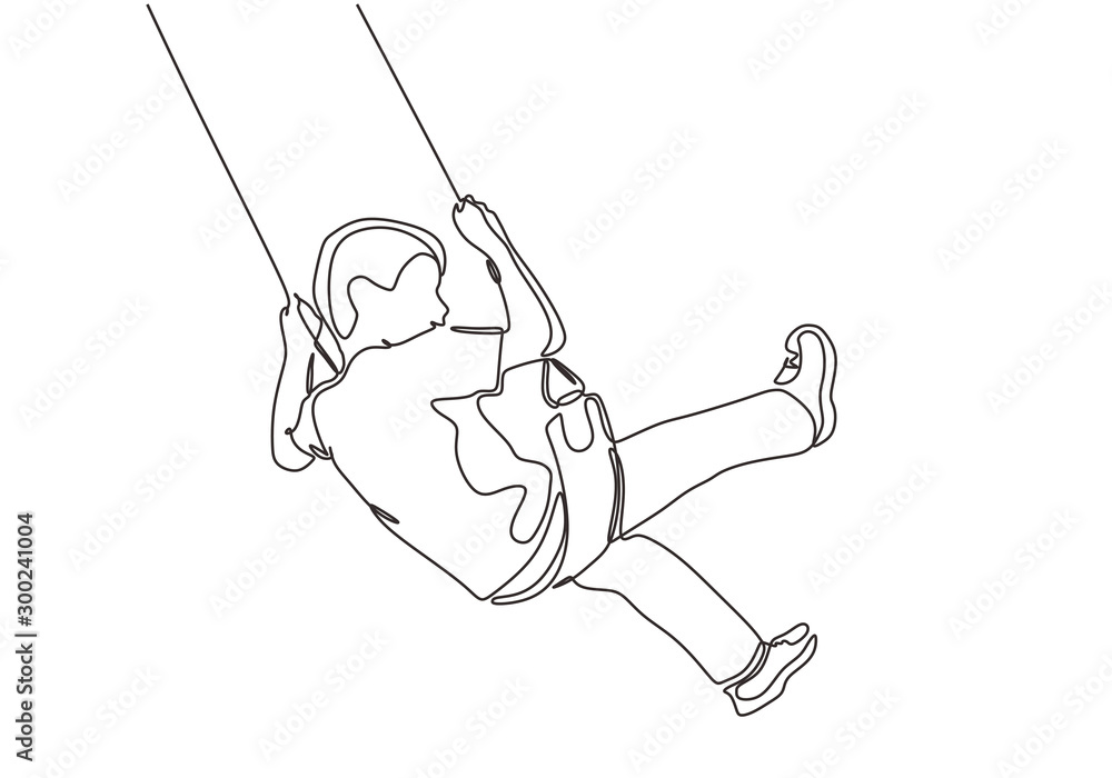 Fototapeta Continuous one line drawing of kid sitting and playing swinging minimalism design. Vector happy childhood.