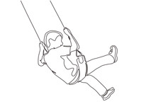 Continuous One Line Drawing Of Kid Sitting And Playing Swinging Minimalism Design. Vector Happy Childhood.