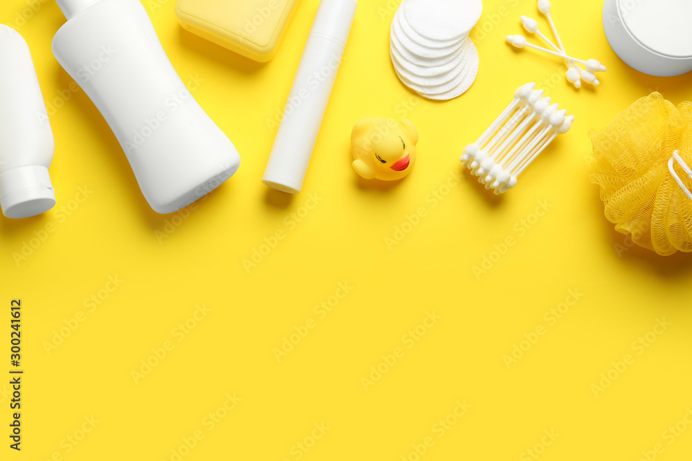 Fototapety, obrazy: Flat lay composition with baby cosmetic products on yellow background. Space for text