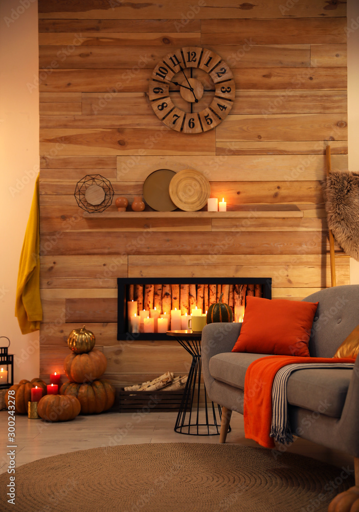 Fototapeta Cozy living room interior inspired by autumn colors
