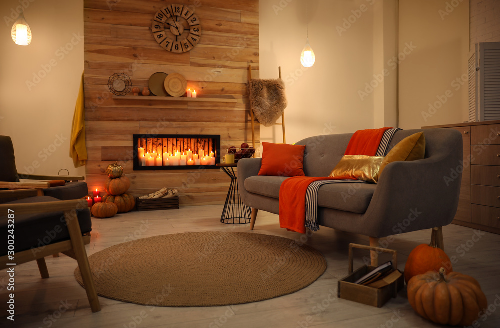 Fototapety, obrazy: Cozy living room interior inspired by autumn colors