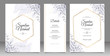 Golden geometric frame wedding card set template with leaves watercolor