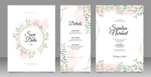 Wedding Invitation Card Set Template With Leaves Watercolor Decoration