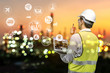 Leinwandbild Motiv Engineer holding walkie talkie are working order at oil and gas refinery. Industry petrochemical concept image and icon connecting networking using technology.