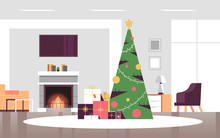 Christmas Decorated Green Fir Tree With Gift Present Boxes Merry Xmas Happy New Year Holiday Celebration Concept Modern Living Room Interior Horizontal Vector Illustration