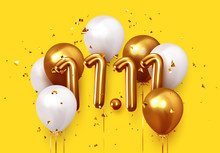 World Shopping Day 11.11. Global Sale. Big Sale Of The Year. Realistic Gold And White Balloons. Background Design Metallic Numbers Date 11.11 And Helium Ballon On Ribbon, Glitter Bright Confetti