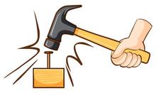 Hammer Hitting Nail On Wooden Block
