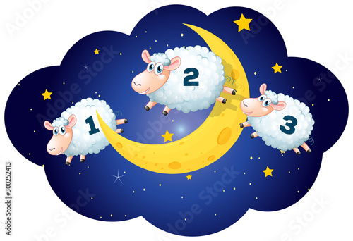 Counting sheeps at night on white background