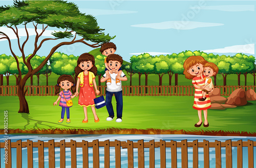 Spoed Foto op Canvas Kids Scene with people in the park