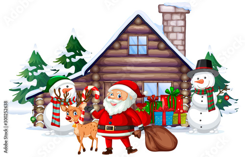 Spoed Foto op Canvas Kids Christmas scene with Santa and snowman