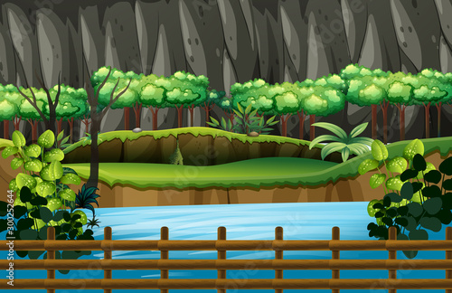 Spoed Foto op Canvas Kids Background scene of park with river and fence