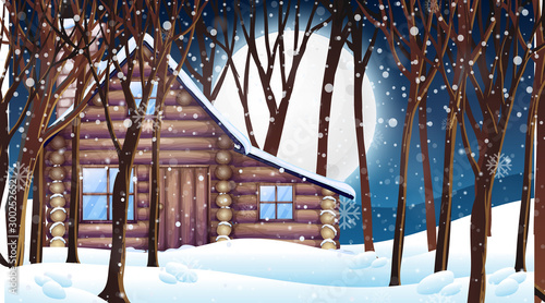 Scene with wooden hut in snow winter