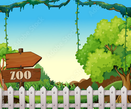 Spoed Foto op Canvas Kids Background scene of zoo park with white fence