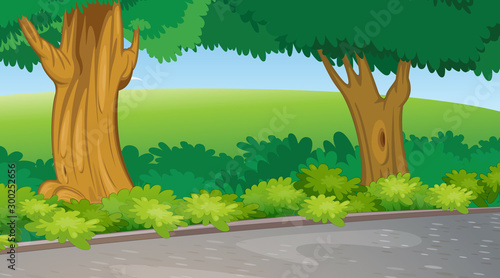 Photo Stands Kids Background scene with trees and field