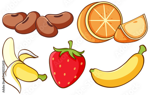 Spoed Foto op Canvas Kids Isolated set of fruits on white background