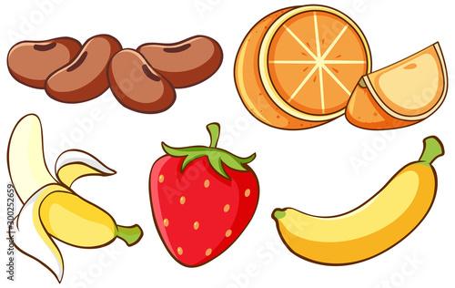 Isolated set of fruits on white background