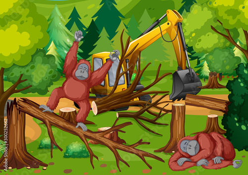 Spoed Foto op Canvas Kids Deforestation scene with monkey and tractor