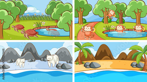 Spoed Foto op Canvas Kids Background scenes of animals in the wild