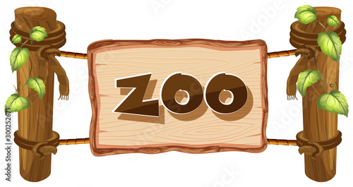 Zoo sign on white background