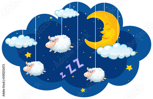 Sheep hanging in the dark sky