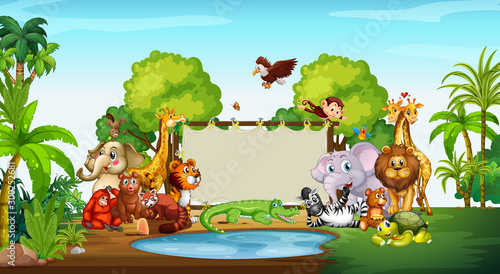 Spoed Foto op Canvas Kids Cute animals at the zoo with blank sign