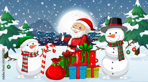 Spoed Foto op Canvas Kids Christmas night with Santa and snowman