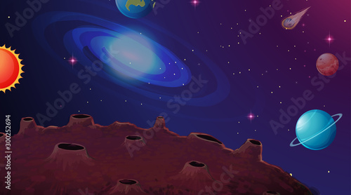 Solar system planet scene