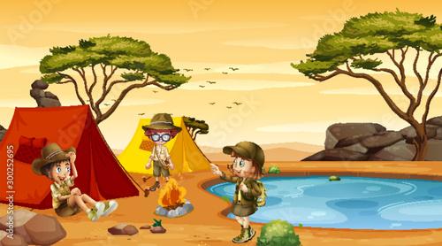 Scene with kids camping in desert field