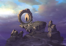 Original Fantasy Hand Drawn Illustration Of An Ancient Portal In A Form Of Round Door With Snow Falling Out Of It