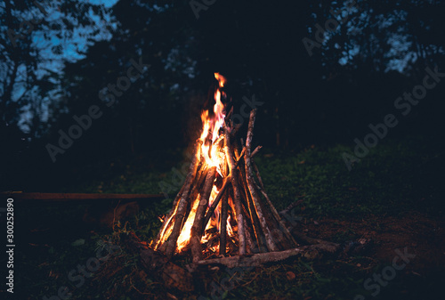Fotografie, Obraz Fire - bonfire in the garden - Camping and tents