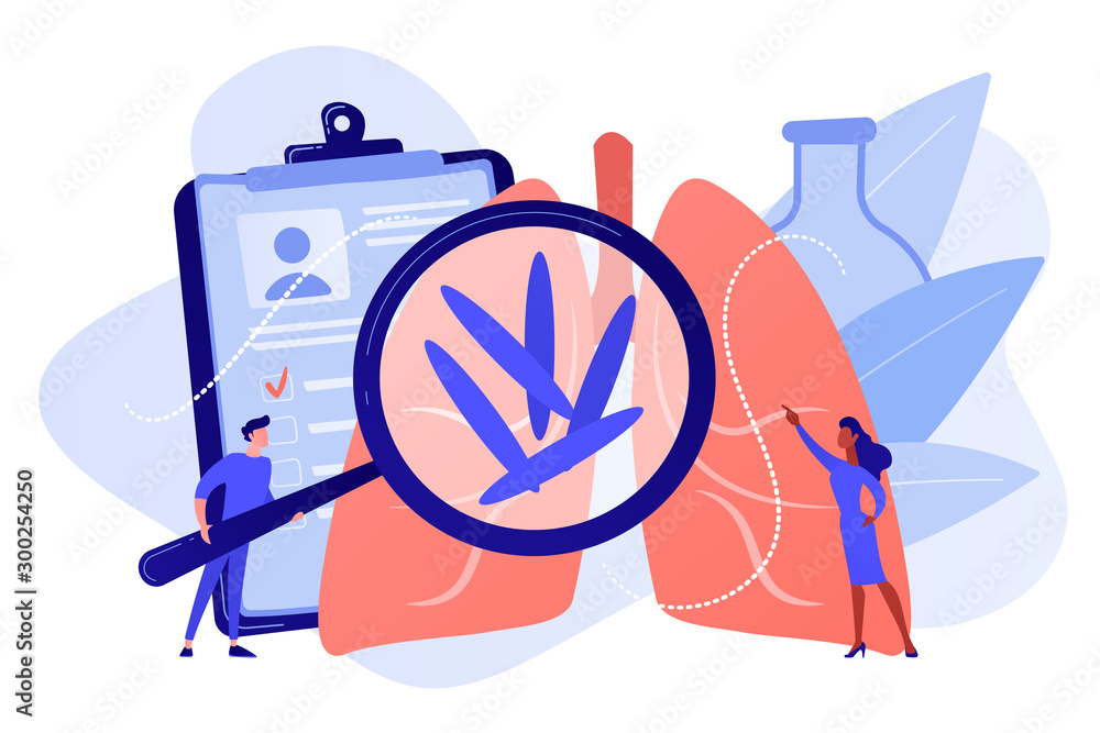 Fototapeta Doctot with magnifier looking at bacteria in lungs. Tuberculosis, mycobacterium tuberculosis and world tuberculosis day concept on white background. Pinkish coral bluevector isolated illustration