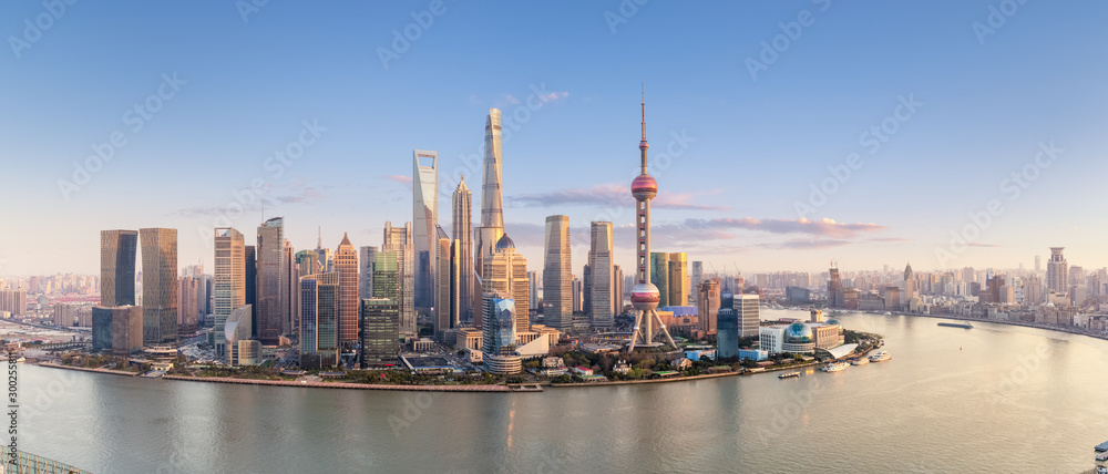 Fototapety, obrazy: shanghai skyline panorama in sunset