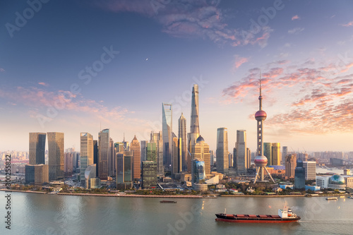 charming sunset view of shanghai skyline Canvas Print