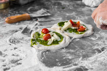 Pizzaiolo Chef Preparing Traditional Italian Neapolitan Pizzas