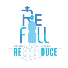 Tap Water Refill Typographic Design. Refill Drinking Water With Reusable Bottle Help To Reduce The Use Of Single-use Plastic At Source. Vector Illustration Outline Flat Design Style.