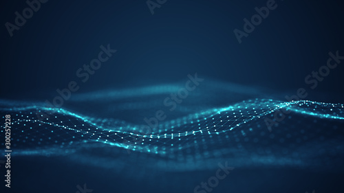 Technology digital wave background concept.Beautiful motion waving dots texture with glowing defocused particles. Cyber or technology background.